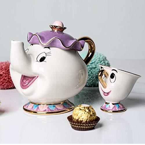 Cartoon Beauty and The Beast Teapot Mug Mrs Potts Chip Tea Pot Cup One Set Nice Christmas Gift Birthday Gift for Woman