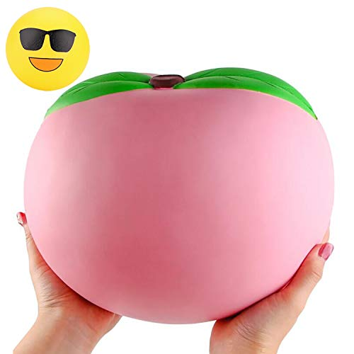 WATINC 10inch Jumbo Squishies Large Peach Squishies Birthday Gift for Kids Giant Slow Rising Simulation Cute Fruit Squeeze Toy for Collection Decorative Props Stress Relief Bonus Emoji squishies