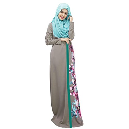 Longra Abaya Dubai Kleider Damen islamishen Kleid Islamische Kleidung muslimische Kaftan Robe Gewand Frauen Langarm Blumekleid Maxikleider Schal Lange Kopftuch (L, Gray)