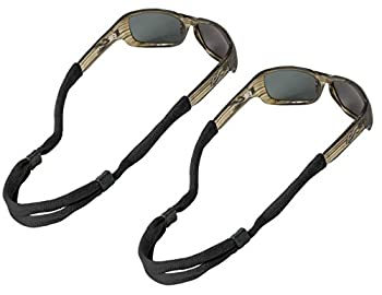 Chums No Tail Adjustable Cotton Eyeglass and Sunglass Retainer / Strap Black  2 Pack