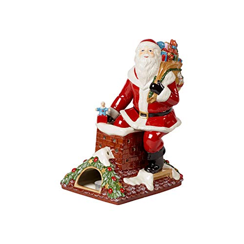 Villeroy & Boch Christmas Toy's Memory Babbo Natale sul Tetto, Statuetta di Babbo Natale Decorativa in Porcellana Dura, Multicolore