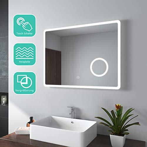 Emke Espejo de baño con iluminación LED, color blanco cálido, espejo de pared, aluminio pvc vidrio cobre, Tipo J., 80x60cm Touchschalter + beschlagfrei