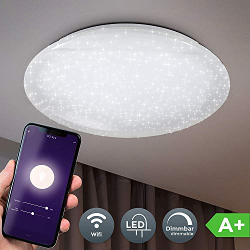 B.K.Licht LED Deckenleuchte smart I Deckenlampe I 50cm Durchmesser I App Steuerung I iOS & Android kompatibel I inkl. 40W 4000lm LED Platine I WiFi I dimmbar I Sprachsteuerung I 2,4GHz