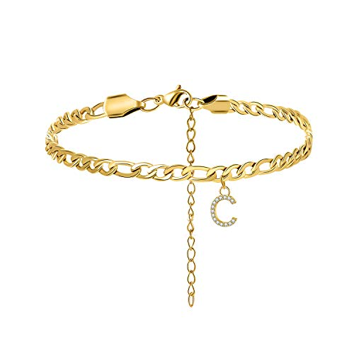 Yiyang Initial Big Letter Anklets for Women Daughter Wife Monogram Anklet 316L Stainless Steel 14K Gold Plated Personalized Minimalist Birthday Vacation Holiday Beach Jewelry