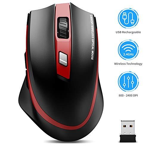 TedGem Maus Kabellos, 2.4G Aufladung Funkmaus, Wireless Maus, Laptop Maus mit USB Nano Empfänger, 6 Tasten, 5 Einstellbare DPI für PC/Tablet/Laptop und Windows/Mac/Linux (Aufladung und Ruhig)