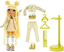 Lalka modowa Rainbow High - Sunny Madison - Żółta lalka z wyjątkowymi strojami, akcesoriami i stojakiem na lalkę -...