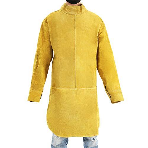 Babimax flammhemmende Schweißerschürze Arbeitskleidung Schutzkleidung feuerfest Schweißschürze Leder Rindsleder luftdurchlässiges Design im Rücken lang beim Schweißen