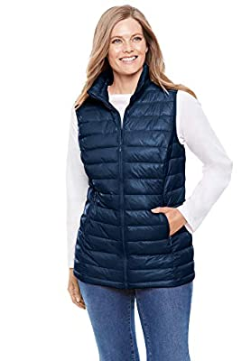 Woman Within Women's Plus Size Packable Puffer Vest - 3X, Navy from Woman Within