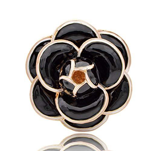 XZDA Broche Esmalte Broches De Flores De Camelia para Mujer Abrigo De Moda De Color Negro Bolso Joyería