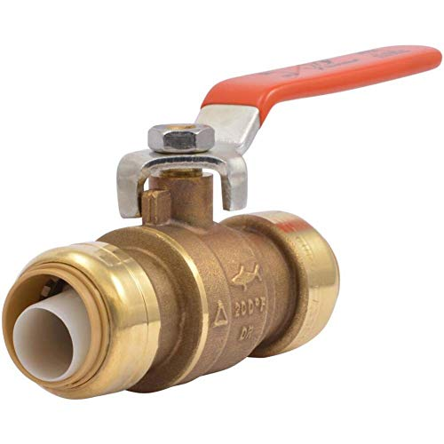 SharkBite 22185-0000LFA Ball, Water Valve Shut Off, Push-to-Connect, PEX, Copper, CPVC, PE-RT, HDPE, 3/4 Inch x 3/4 Inch, Brass