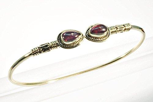 mantraroma Armreif Armband Messing golden Granat rot (932-05-013-02)