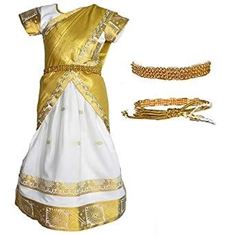 AMIRTHA FASHION Girl's Kanchipuram Cotton Silk Half Saree With Waist Belt