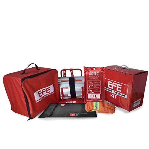 Emergency Fire Safety Escape Kit -Includes Fire Escape Ladder 2 Story, Fire Proof Bag, Fire Blanket, Heat Resistant Gloves, Portable Roll Out Window Escape, Must Have Accessory Kit for Survival