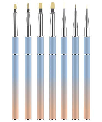 JFUNE 7PCS Cepillo uñas pinceles para decoración de uñas, Nail Art acrílico pintura UV GEL dibujo diseño cepillo (7pcs)