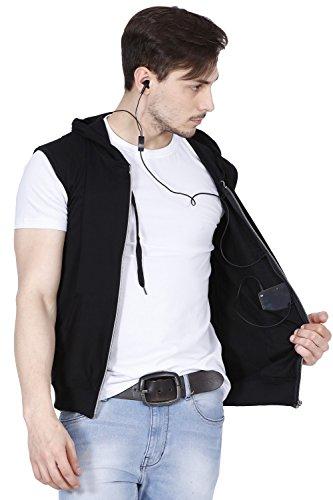 fanideaz Branded Hooded Cotton Black Zipper Jacket Sleeveless Tshirts for Men XL