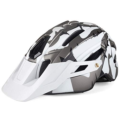 Fahrradhelm ZWRY Mountainbike Helm Camouflage Helm MTB Road Bike Riding Helm Big Brim Hut 58-61 cm Weiß schwarz Ti grau 3
