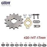 GOOFIT 420 14 T 17mm dents moto Pignon moteur Pignons coniques de chaîne Engine Remplacement pour 50cc 70cc 90cc 110cc Motorcycle Dirt Bike ATV Quad