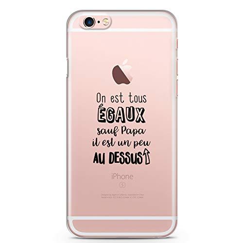 ZOKKO - Carcasa para iPhone 6 Plus On EST Todos Iguales Excepto Papa Il es un Poco en la Parte Superior, Flexible Transparente, Tinta Negra