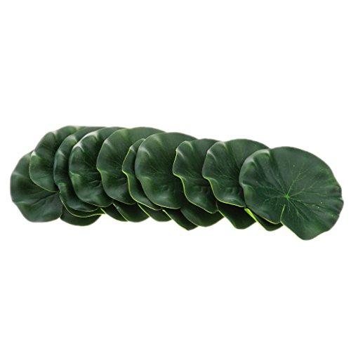 D DOLITY Aquarium Lotusblatt Grün Schwimmende Künstliche Blätter Teich Dekoration 10er Pack - 10 cm