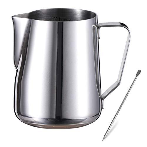 OVAREO Milchkännchen Edelstahl, Milchkanne Edelstahl 600ml, Kaffeekännchen Messung Mark und Latte Art Pen, Milchaufschäumer Kanne, für Barista Cappuccino Espresso & Macchiato