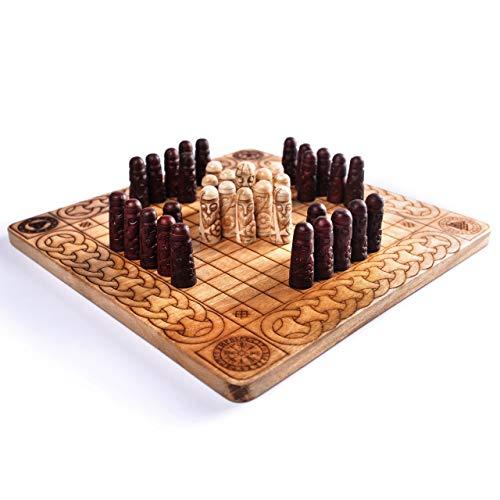Norse Tradesman Handcrafted Viking Hnefatafl Set w/ Ox-Bone Game Pieces & Solid Teakwood Board | Tafl - The Viking Game
