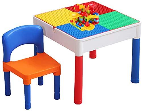JIAFENG La Actividad de Mesa multifunción, 5-en-1 Mesa y sillas para niños, Doble Panel Compatible con partículas Grandes y pequeños Juguetes Tabla de Almacenamiento,UN
