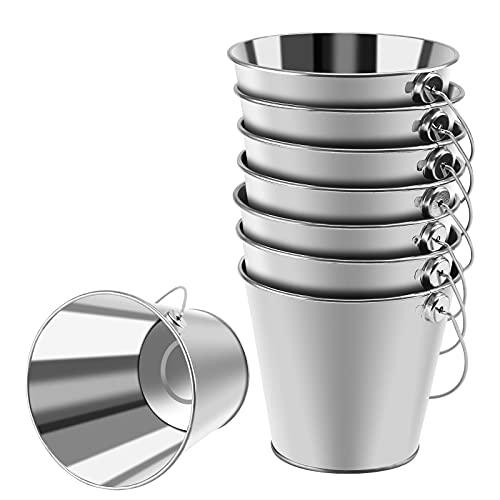 Wisolt Cubos de Metal pequeños, Paquete de 8 Cubos de Metal galvanizado con asa, Mini Canasta Redonda para macetas para Plantas pequeñas y Dulces y decoración de Fiestas en el hogar (Plata)