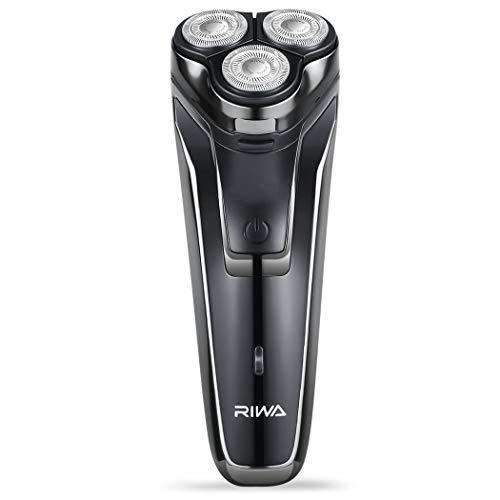 Afeitadora eléctrica para hombres, afeitadoras eléctricas RIWA con recortador de barba emergente USB recargable, afeitadoras inalámbricas con motor ultra potente de 5 vatios para barba densa