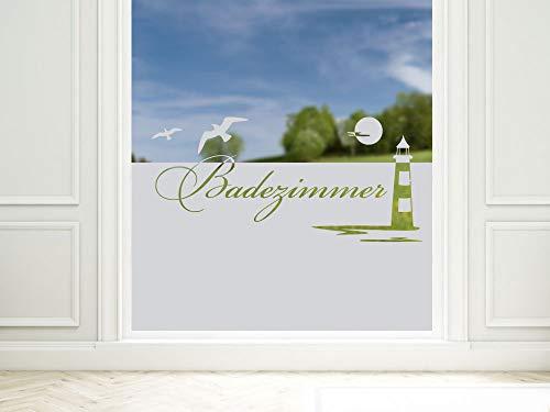 GRAZDesign Sichtschutzfolie Schriftzug Badezimmer, Matte Glasdekorfolie, Fensterfolie zur Deko/Sichtschutz / 90x57cm