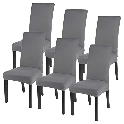SearchI Dining Room Chair Covers Set of 6, Spandex Fabric Fit Stretch Removable Washable Short Kitchen Chair Covers Protector for Dining Room, Livining Room, Hotel, Ceremony (Light Grey,6 Pieces)