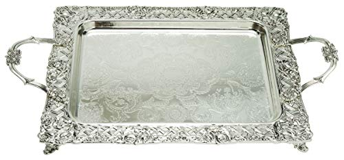 Silver Plated Menorah Tray with Handles - 16 Inch x 13.5 Inch - for Shabbos, Yom Tov, Hanukkah Drip Tray - Large Square Silver Tray - Ner Mitzvah