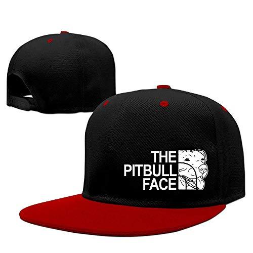 Zcfhike Las Gorras de béisbol Pitbull Pace Hip Hop Transpirable Plana Bill Llano Snapback Sombreros Rojo Multicolor68
