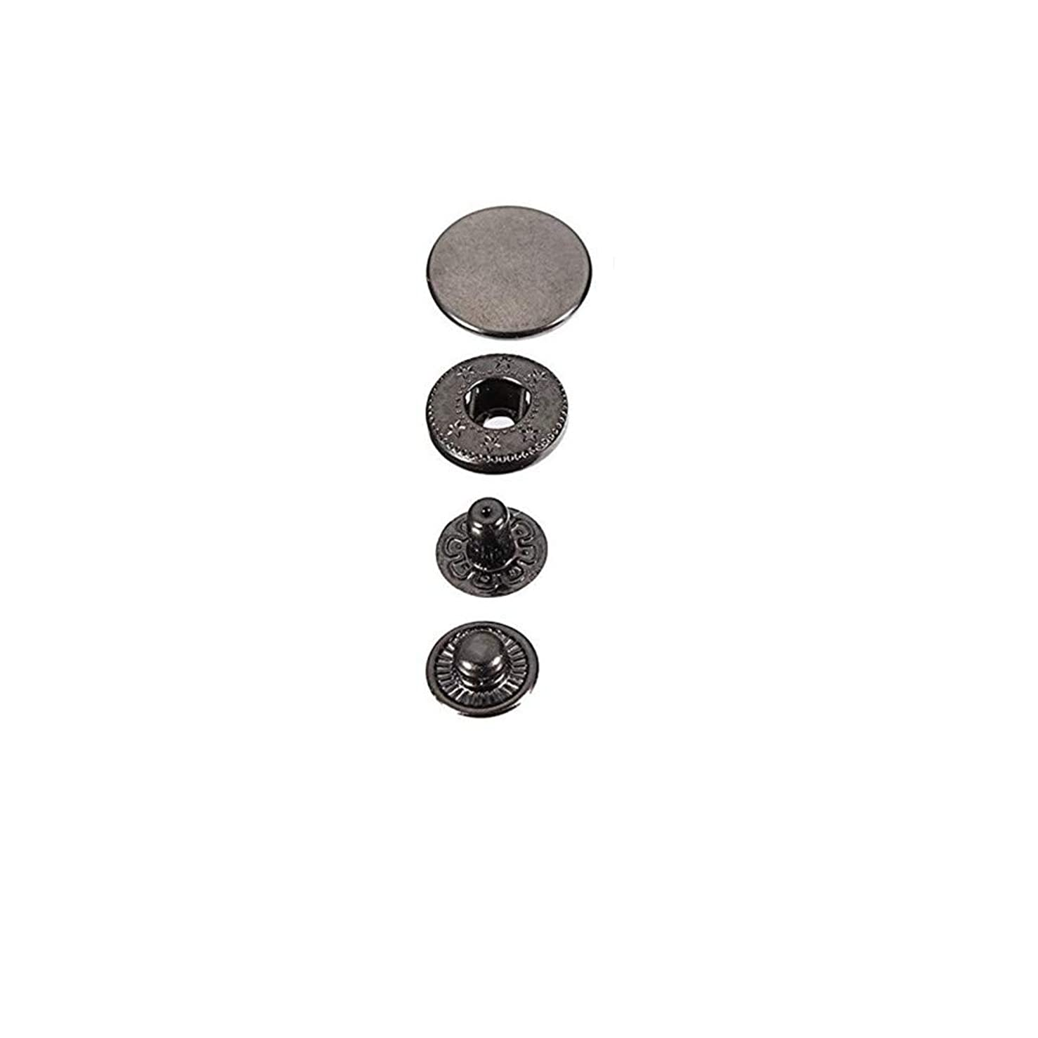 DIY Metal Snap Fasteners Leather Snaps Button Press Studs Pack of 50 Sets (15mm, Gun Metal/Black)