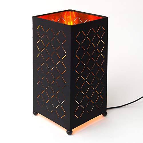 MEGALight LED Tischleuchte Shining Flame eckig Flammeneffekt Schreibtischlampe Wohnzimmerlampe Dekolampe Flackerlicht Flammenlicht