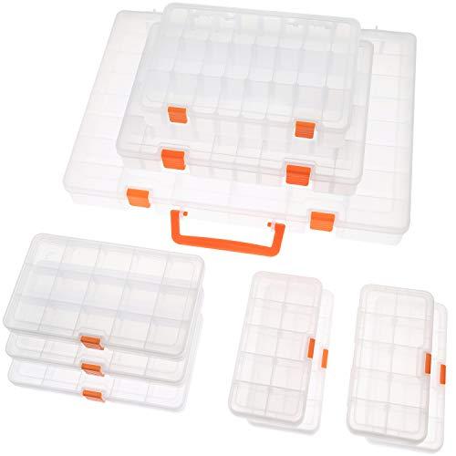 SOMELINE Caja de almacenamiento de plástico para joyas, pendientes, herramientas, tornillos, compartimento ajustable, caja de almacenamiento transparente, 10, 15, 24, 36 rejillas (10 unidades)