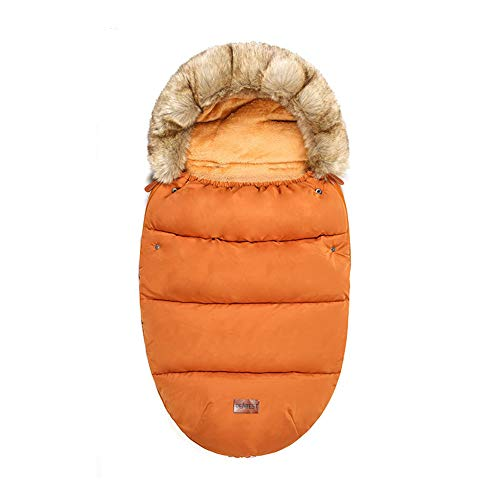 LTSWEET Fußsäcke Kinderwagen Universal Winter Thermo Fleece Mumienform Winddicht Rutschschutz für Kinderwagen Sportwagen Buggy Autositz Babyschale,Orange