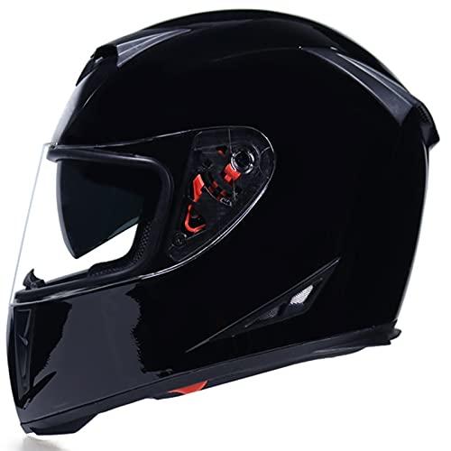 Tbagem-Yjr Casco de Bicicleta de Cara Completa, Casco de Choque Casco Motorbike Flip Up con visores Anti-Niebla a Prueba de Lluvia ECE Aprobado M-XXL Negro Negro 1490 g (Color : Black, Size : M)