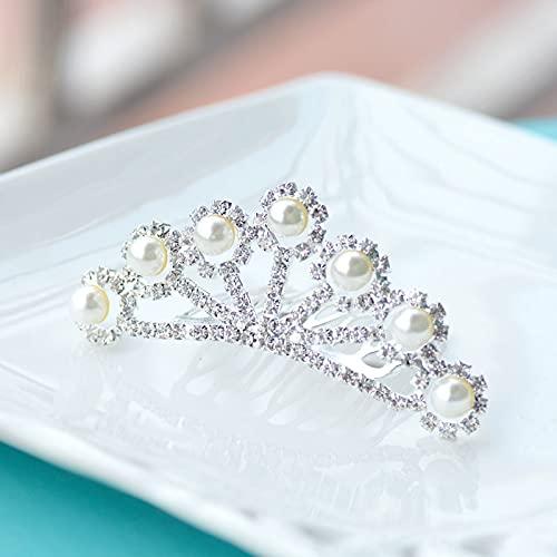 Clips de pelo Niñas Perlas Simuladas Pequeñas Tiara Peinetas De Moda Corona...