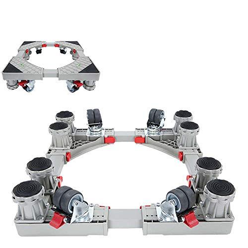 Multi-Functional Einstellbare Basis Movable mit 8 Starken Füßen Und 4X2 Locking Schwenkerräder Heavy Load 500kg Mobil Roller Dolly für Waschmaschine, Wäschetrockner,Grau