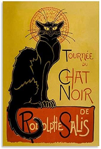 Vintage Poster Chat Noir Black Cat Poster Dekorativ målning Canvas Wall Art Vardagsrum Postrar Bedroom Painting-40x60CM Frameless