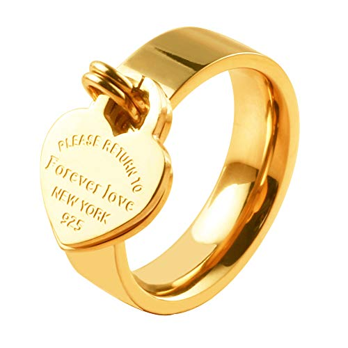 JINHUI Valentine's Day Gift Jewelry 18K Gold/Rose Gold Forever Love Ring with Engraved Heart Charm Jewelry for Women Size 7#, 8#, 9#,10# (Gold, 7)