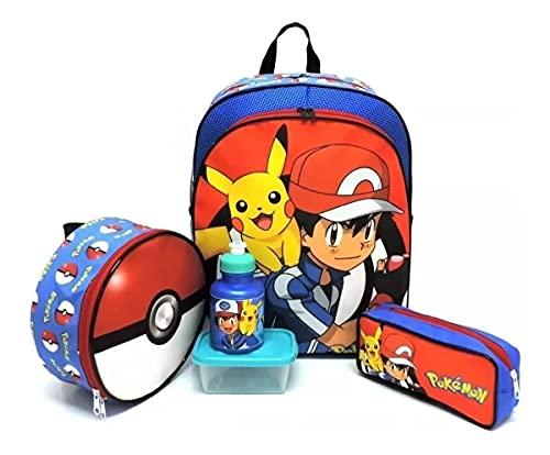 Kit Mochila Infantil Escolar Pokemon Costas Pikachu Tam G F5