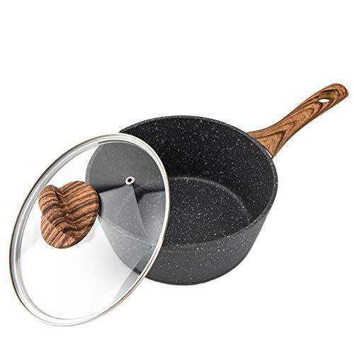RAINBEAN Saucepan with Lid, Non Stick Induction Pans 20cm/ 3L Milk Pan, Forged Aluminum Cooking Pots with Bakelite Wood Effect Handle Cookware Set, Suitable for All Hobs Types