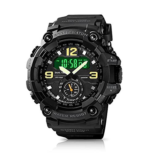 Upkey - Reloj digital para hombre, resistente al agua hasta 50 m, color negro, reloj de pulsera multifuncional analógico 12/24 h, con cronómetro de 3 horas y esfera grande