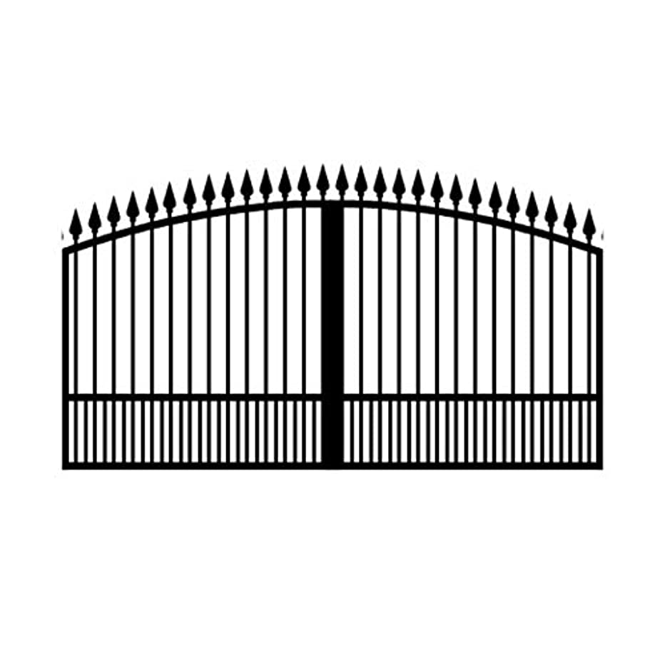 StandardGates - Wrought Iron Driveway Gate Kit - 12 ft 0 in, Solo, Puppy Pickets, Arched, Finials