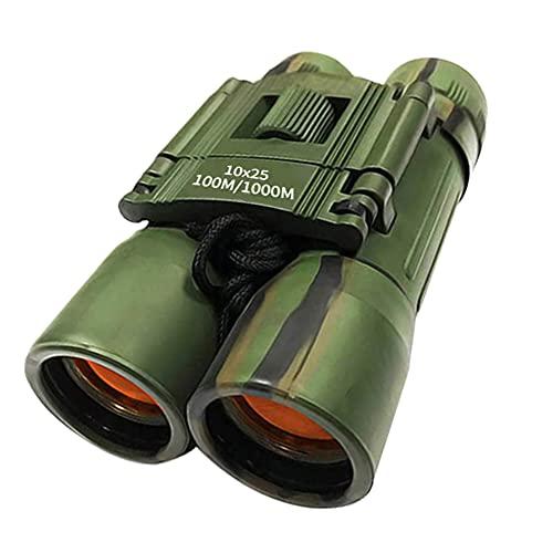 Binocolo Compatto 10x25, YFish Telescopio Pieghevole Potente Impermeabile Cannocchiale con Visione Notturna per Adulti Bambini Birdwatching Turistiche Campeggio Militare, Army Green