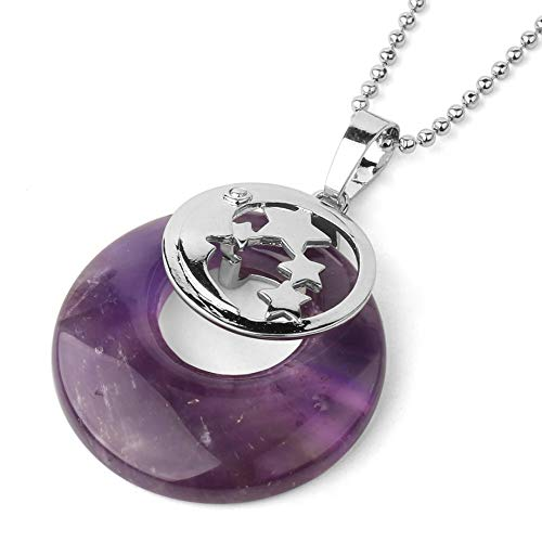 YOUHU Crystal Necklace Pendant,7 Chakra Crystal Necklaces Hollow Star Moon Natural Tiger Eye Gem Donut Pendant Trendy Spiritual Jewelry Anniversary Unisex Gift,Amethyst