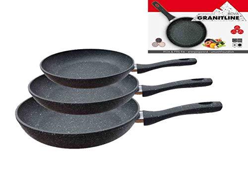 Granitline 3tlg.Pfannenset, Granitpfanne, Bratpfanne,Kratzfest,Induktion,Gas antihaft,Elektro
