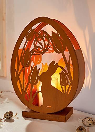 """Windlicht """"Osterwiese"""", 33 cm hoch aus Metall mit Glas, dekorativer Kerzenhalter, Rostoptik, Glaswindlicht, Kerzenhalter, Tischwindlicht"""