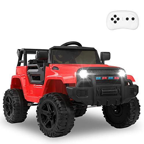 JOYMOR Ride on Truck with Remote Control, 4 Wheels 12V Battery Powered Kids Car, with LED Headlight/Horn Button/ MP3 Player/USB Port/ Forward Backward/Kids Girl Boy (red)